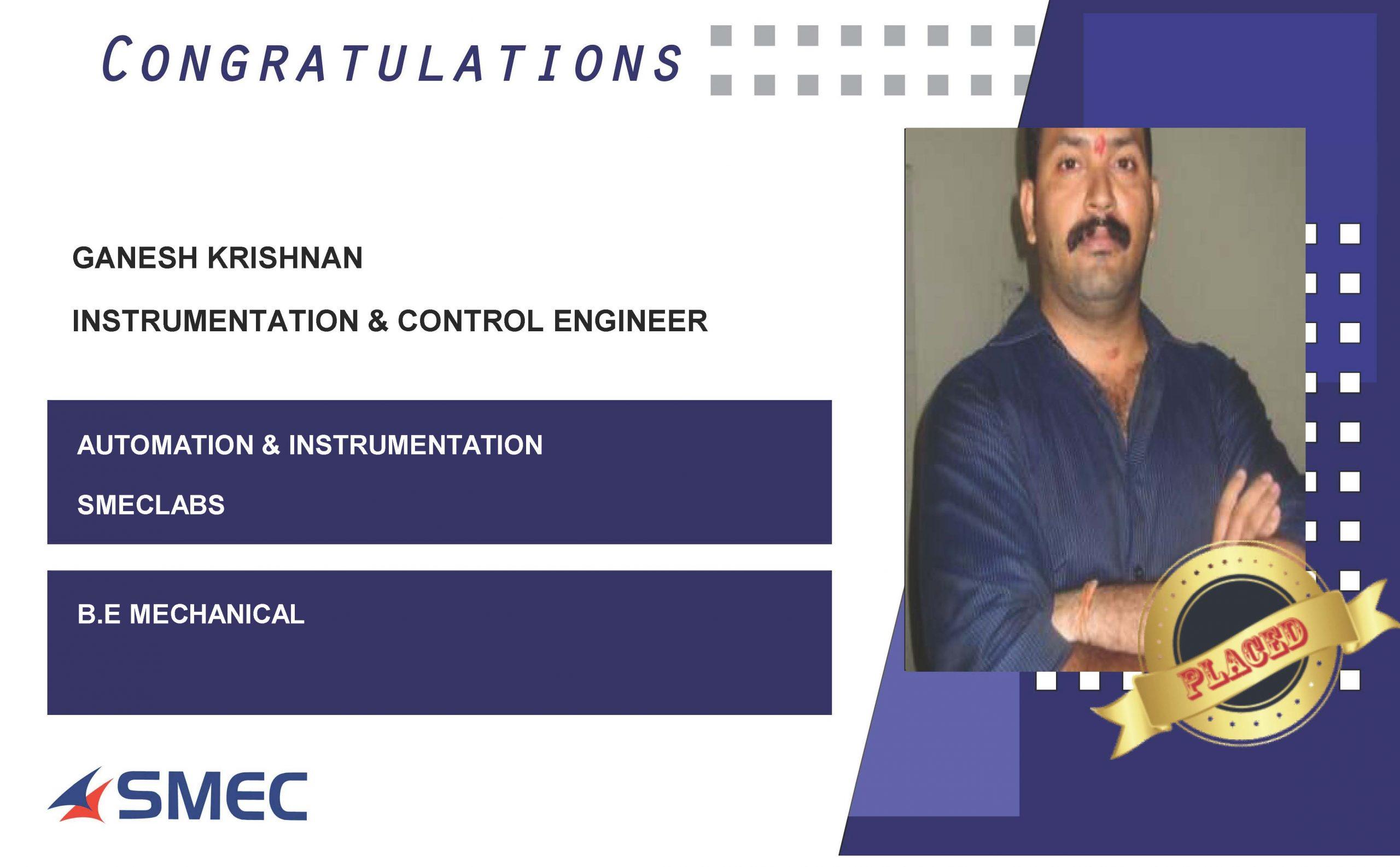 Instrumentation & control engineer-ganesh krishnan