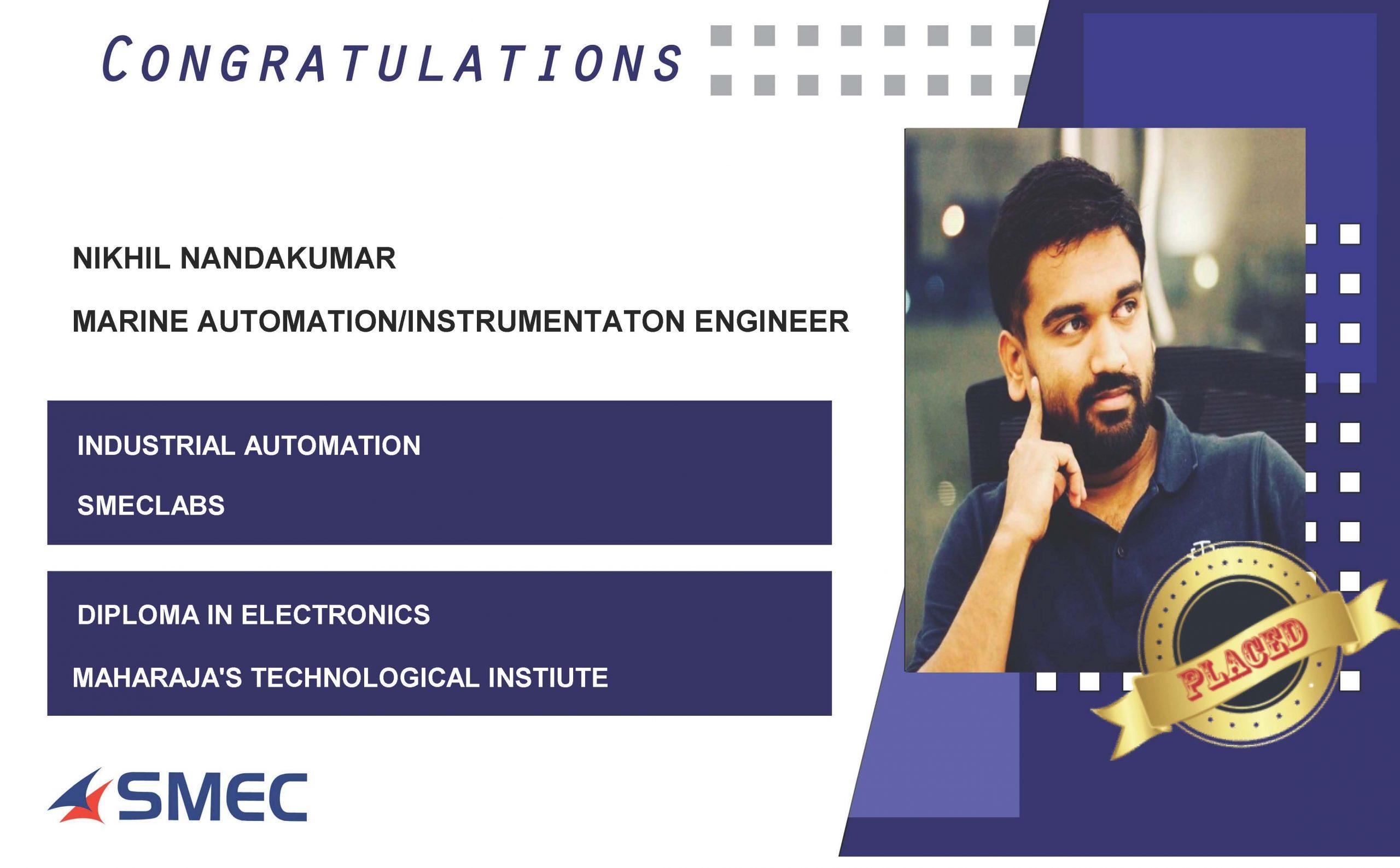 MARINE AUTOMATION/INSTRUMENTATION ENGINEER JOBS-Nikhil Nandakumar
