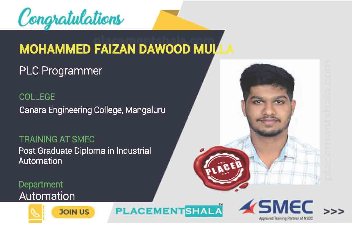Canara-Engineering-College-Mangaluru-job-placement-as-PLC-Programmer-by-SMEC
